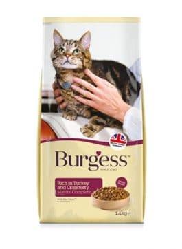 Burgess Cat Senior Rijk aan Kalkoen en Cranberry 1,4KG