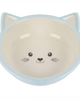 Happy pet voerbak kitten lichtblauw / creme