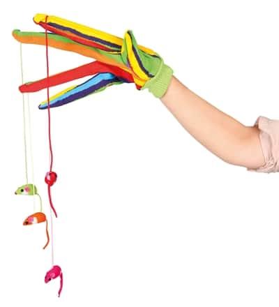 Trixie speelhandschoen met muizen aan koord ass