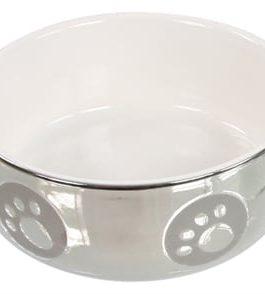 Katteneetbak royal zilver/wit